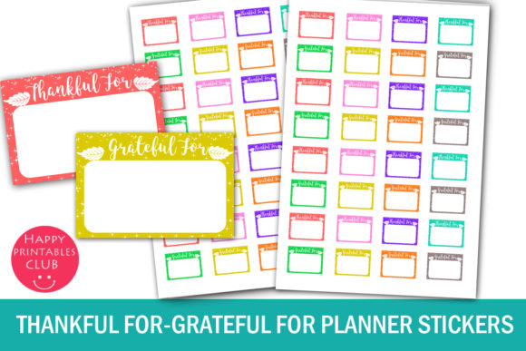 Print on Demand: Thankful - Grateful for Planner Stickers Graphic Crafts By Happy Printables Club