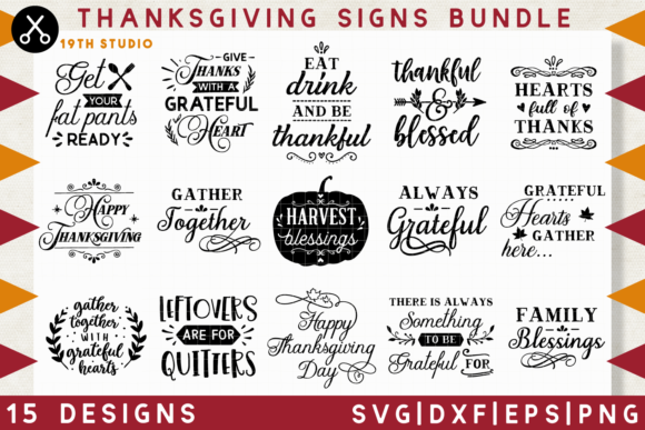 Download Free Thanksgiving Signs Svg Bundle Graphic By 19th Studio Svg for Cricut Explore, Silhouette and other cutting machines.