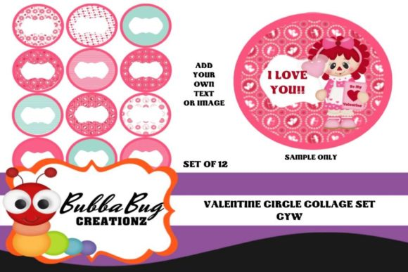 Valentines Circle Collage Set Graphic By BUBBABUG