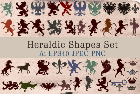 Vector Heraldic Shapes Set 52 Objects Graphic Objects By fleurartmariia