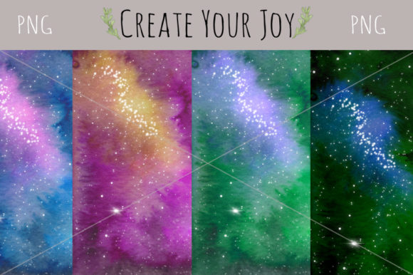 Print on Demand: Watercolor Galaxy Background Graphic Backgrounds By Create Your Joy