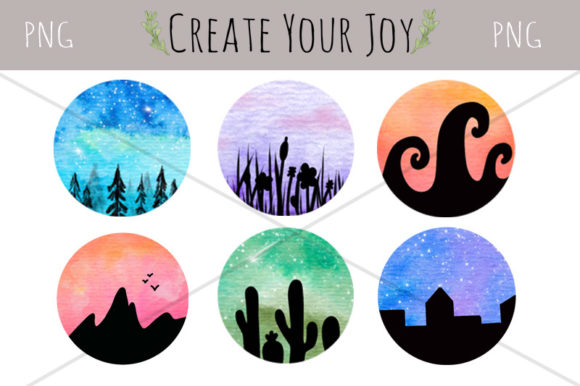 Print on Demand: Watercolor Landscape Galaxies Graphic Illustrations By Create Your Joy