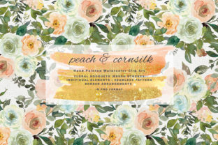 Watercolor Peach and Cornsilk Florals Graphic By Patishop Art