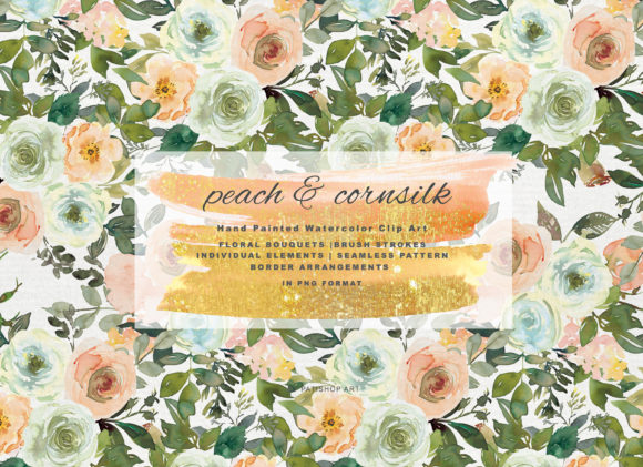 Watercolor Peach and Cornsilk Florals Graphic Illustrations By Patishop Art