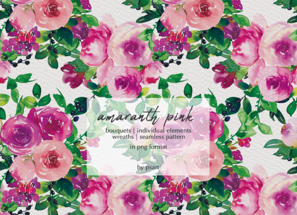 Watercolor Pink Floral Collection Graphic Illustrations By Patishop Art