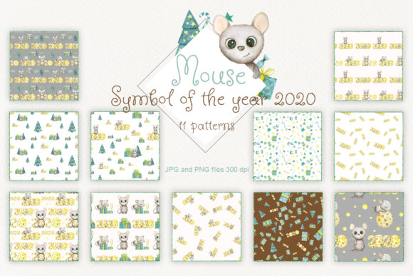 Print on Demand: Watercolor Seamless Patterns of Mouse Graphic Patterns By Natalia Arkusha