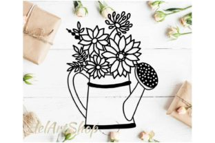 Watering Can with Flowers Graphic Crafts By HelArtShop