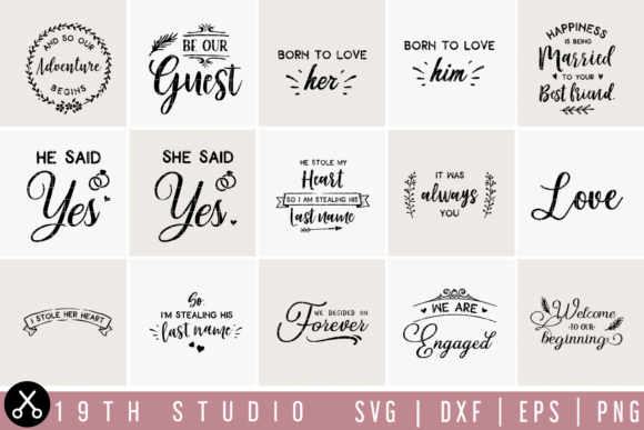 Download Free Wedding Bundle Graphic By 19th Studio Svg Creative Fabrica for Cricut Explore, Silhouette and other cutting machines.