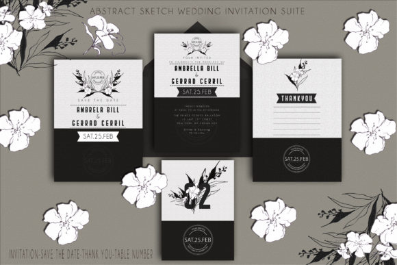 Download Free Abstract Sketch Wedding Invitation Suite Graphic By for Cricut Explore, Silhouette and other cutting machines.