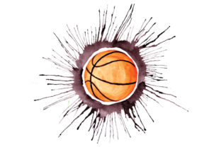 Basketball in Paint Splatter Watercolor Style Craft Design By Creative Fabrica Crafts