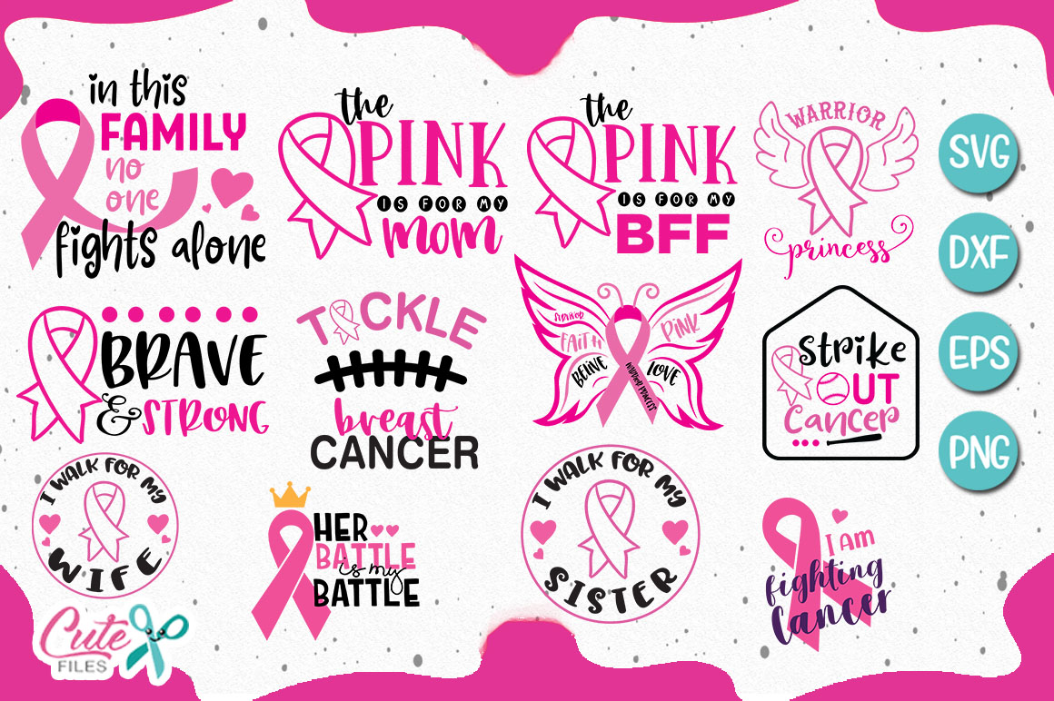 Download Free Bundle Breast Cancer Awereness Graphic By Cute Files Creative for Cricut Explore, Silhouette and other cutting machines.