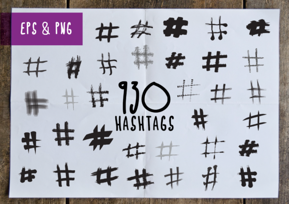 Print on Demand: 930 Hashtags Graphic Crafts By GraphicsBam Fonts - Image 1