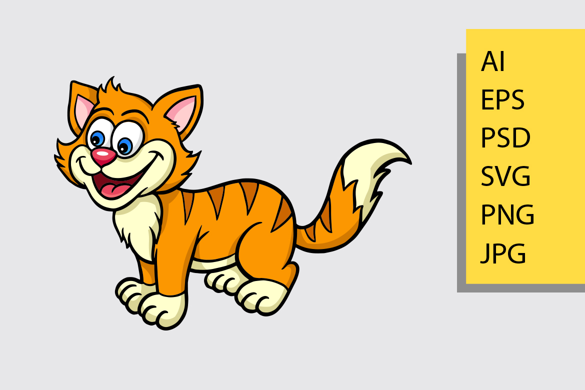 Download Free Cat Cartoon Mascot Vector Graphic By Cove703 Creative Fabrica for Cricut Explore, Silhouette and other cutting machines.
