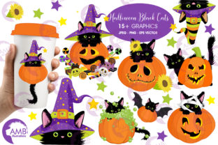 Cats in Pumpkins Clipart, AMB-2648 Graphic By AMBillustrations