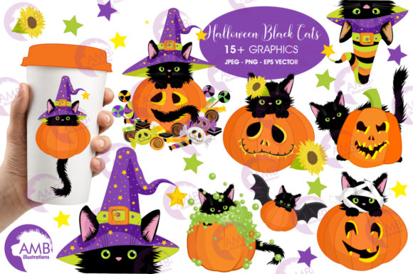 Download Free Cats In Pumpkins Clipart Amb 2648 Graphic By Ambillustrations SVG Cut Files