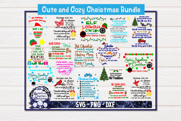 Download Free Christmas Bundle Graphic By Kayla Griffin Creative Fabrica for Cricut Explore, Silhouette and other cutting machines.