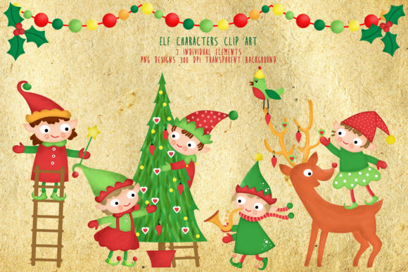 Download Free Christmas Tree Elf Santa Helpers Clipart Graphic By Kabankova for Cricut Explore, Silhouette and other cutting machines.