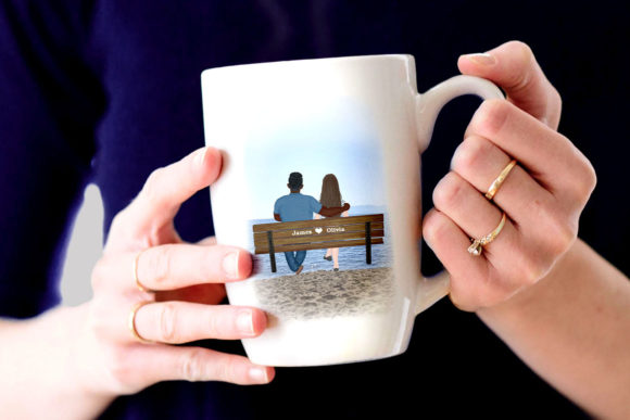 Couple on the Bench Custom Couples Graphic Illustrations By LeCoqDesign - Image 6
