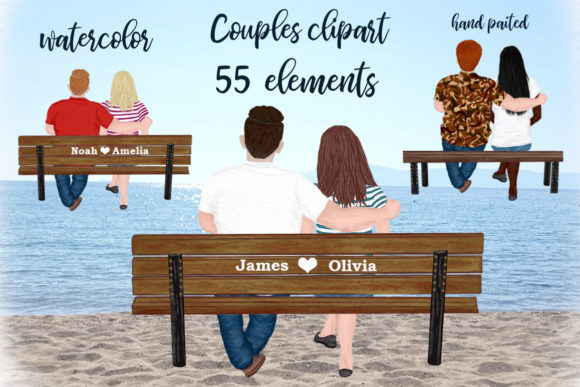 Couple on the Bench Custom Couples Gráfico Ilustraciones Por LeCoqDesign