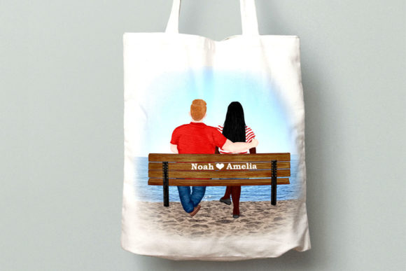 Couple on the Bench Custom Couples Graphic By LeCoqDesign Image 7