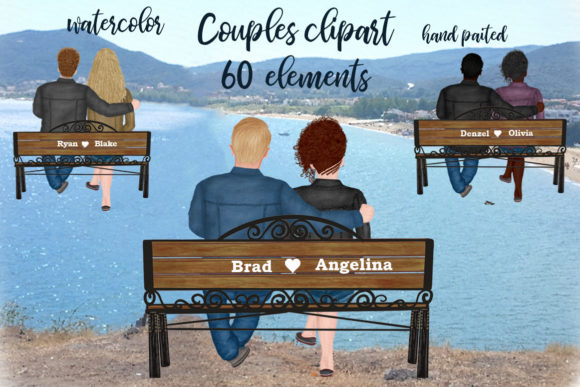 Couple on the Bench Custom Couples Graphic Illustrations By LeCoqDesign