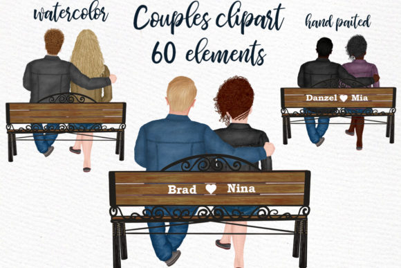 Couple on the Bench Custom Couples Graphic By LeCoqDesign Image 2