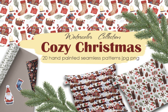 Download Free Cozy Christmas Patterns Graphic By Vasharisovasha Creative Fabrica for Cricut Explore, Silhouette and other cutting machines.
