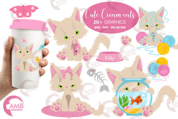 Download Free Cute Cream Cat Clipart Graphic By Ambillustrations Creative for Cricut Explore, Silhouette and other cutting machines.