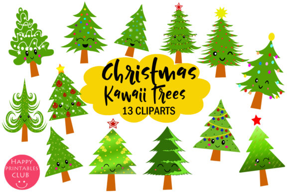 Download Free Cute Kawaii Christmas Trees Clipart Graphic By Happy Printables for Cricut Explore, Silhouette and other cutting machines.