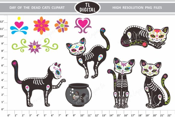 Download Free Day Of The Dead Cats Graphic By Tl Digital Creative Fabrica for Cricut Explore, Silhouette and other cutting machines.