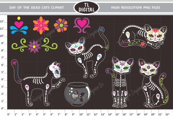 Day of the Dead Cats Graphic Illustrations By TL Digital