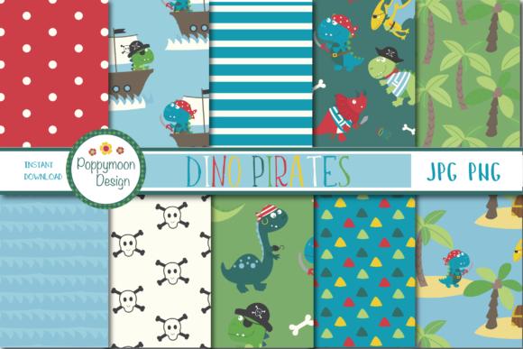 Print on Demand: Dino Pirates Paper Graphic Patterns By poppymoondesign