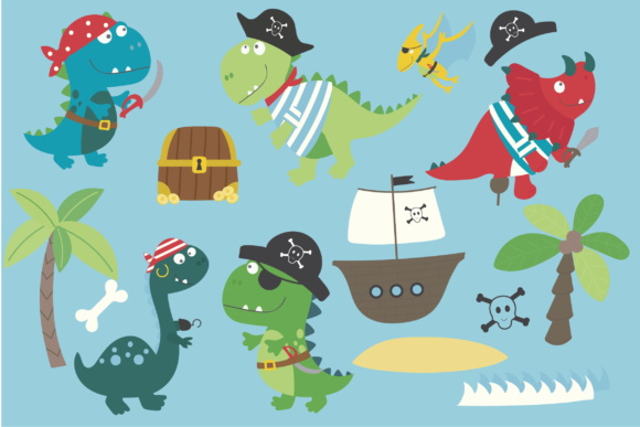Print on Demand: Dino Pirates Graphic Illustrations By poppymoondesign - Image 2