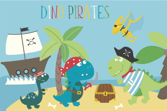 Print on Demand: Dino Pirates Grafik Illustrationen von poppymoondesign