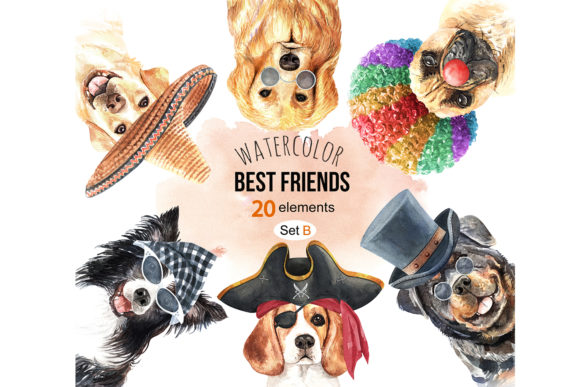 Print on Demand: Dog Watercolor Graphic Illustrations By SapG Art