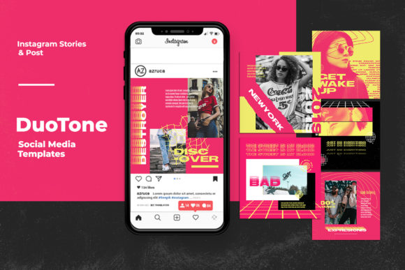 Download Free Duotone Instagram Templates Graphic By Qohhaarqhaz Creative for Cricut Explore, Silhouette and other cutting machines.