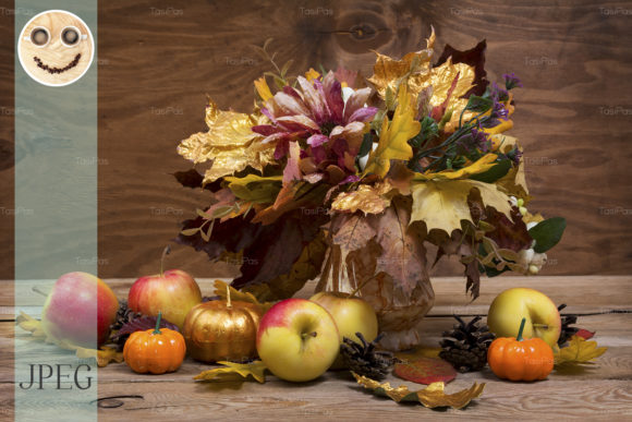 Print on Demand: Fall Leaves Bouquet, Pumpkins and Apples Graphic Holidays By TasiPas