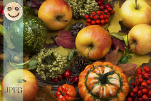 Fall Leaves Rowan Berries and Apples Graphic By TasiPas