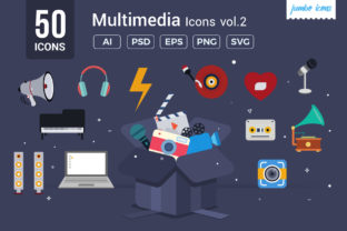 Flat Vector Icons Multimedia Pack Graphic By jumboicons