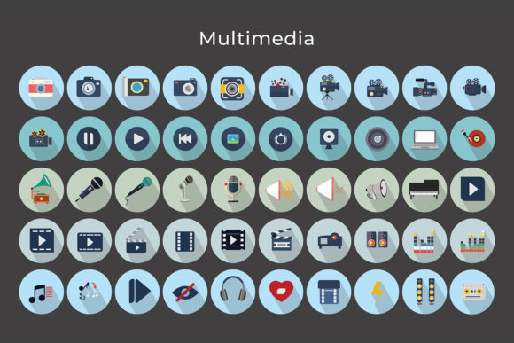 Flat Vector Icons Multimedia Pack Graphic By jumboicons Image 5