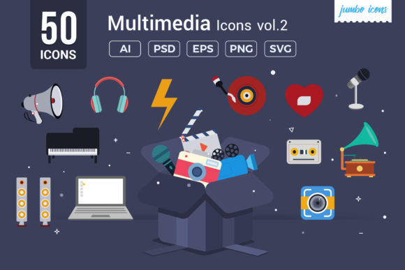 Flat Vector Icons Multimedia Pack Graphic By jumboicons Image 1