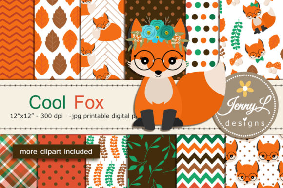 Fox Digital Paper and Clipart Graphic Patterns By jennyL_designs