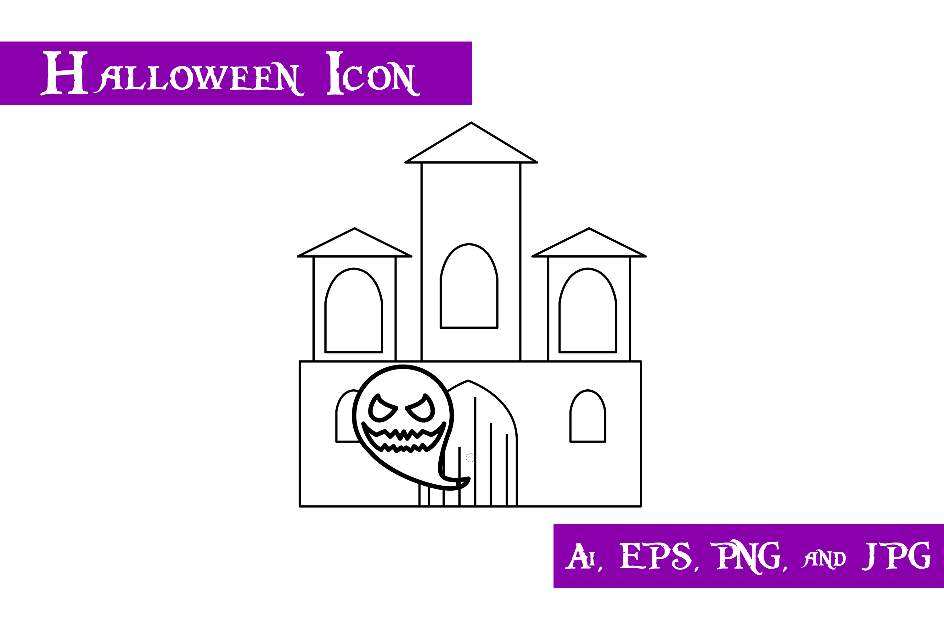 Download Free Ghost Castle Halloween Icon Graphic By Purplespoonpirates for Cricut Explore, Silhouette and other cutting machines.