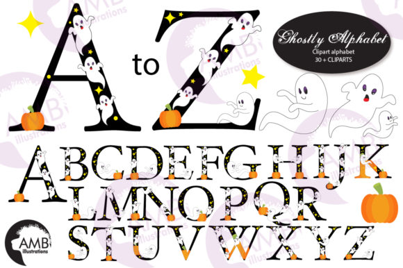 Ghostly Fonts Clipart Pack Graphic Crafts By AMBillustrations - Image 1