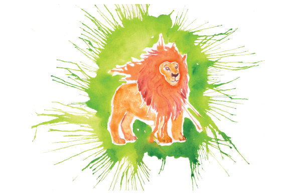 Lion in Paint Splatter Watercolor Style Animals Craft Cut File By Creative Fabrica Crafts - Image 1