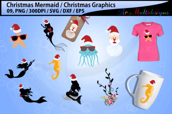 Print on Demand: Mermaid Christmas Graphic Illustrations By Arcs Multidesigns - Image 1