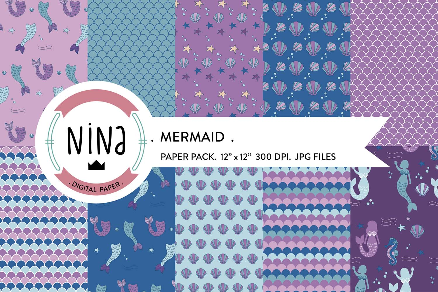 Download Free Mermaid Digital Paper Pack Scale Paper Graphic By Nina Prints for Cricut Explore, Silhouette and other cutting machines.