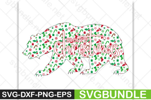 Print on Demand: Merry Christmas Bear Graphic Crafts By svgbundle.net