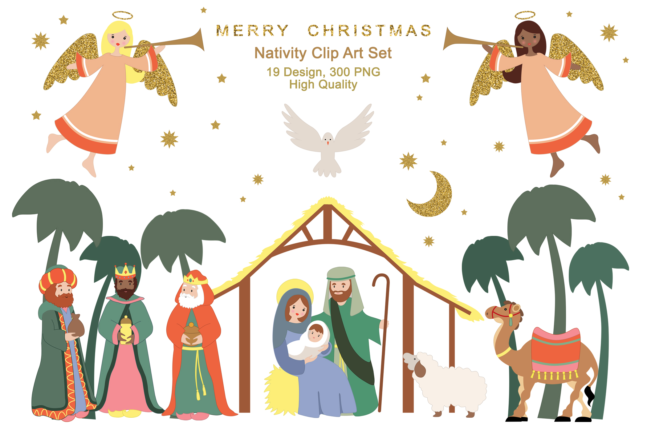 Download Free Nativity Religious Advent Christmas Graphic By Kabankova for Cricut Explore, Silhouette and other cutting machines.