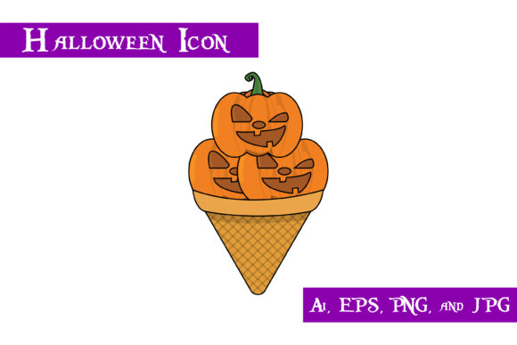 Download Free Pumpkin Ice Cream Halloween Icon Graphic By Purplespoonpirates for Cricut Explore, Silhouette and other cutting machines.